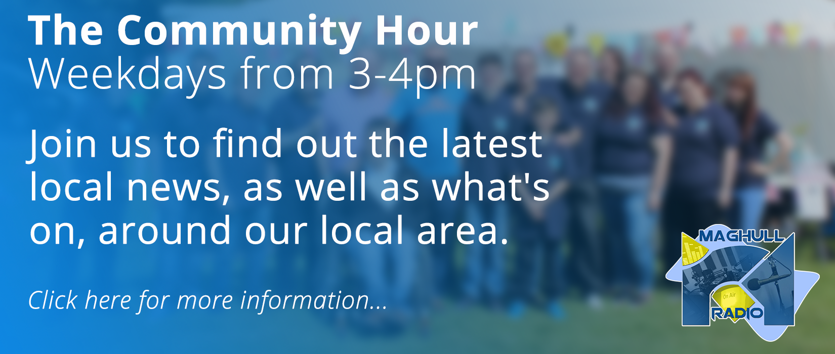 Click here to find out more informaiton about the Community Hour, or to get your event/activity mentioned